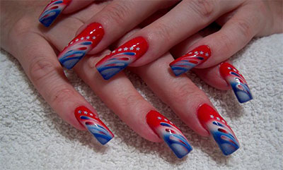 10 amazing fourth of july acrylic nail art designs ideas nailspadesigns acrylic nail art 2014 4th of prinsesfo Image collections