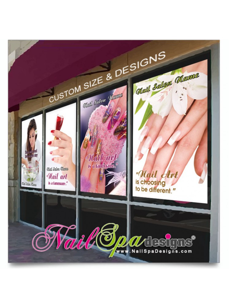 Custom design window decals arts arts for Stickers salon design